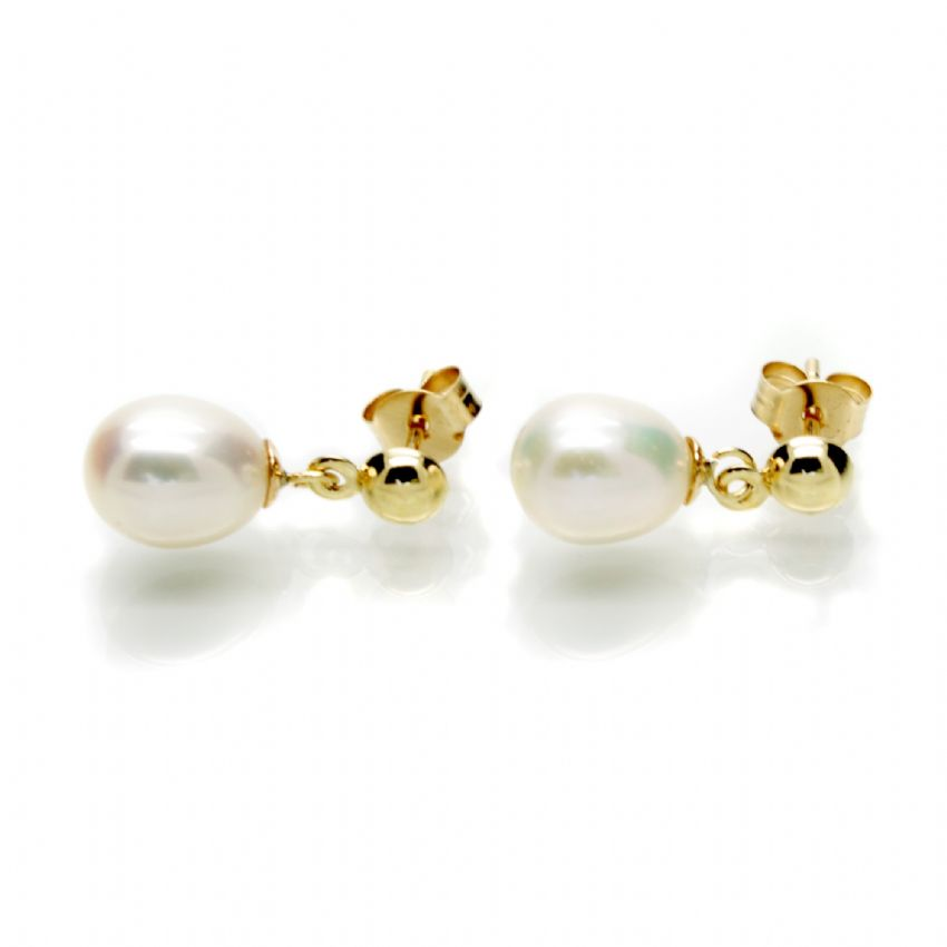 9 Carat Gold Pearl Drop Earrings Oval Pearl on Gold Stud